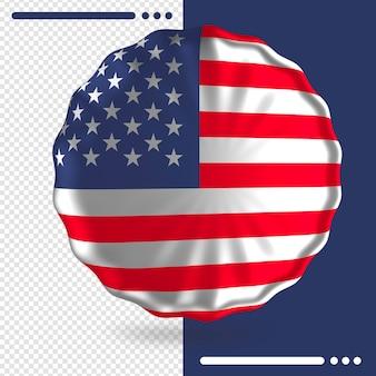 Balão com bandeira dos estados unidos em renderização 3d