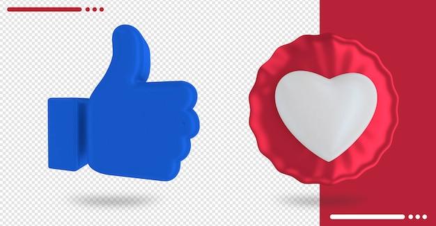 Balão com formato de coração e facebook como na renderização 3d