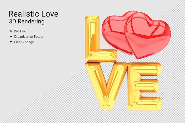 Balão de amor dourado realista com renderização 3d de dois corações