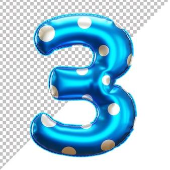 Balão de bolinhas de festa 3 numeração em renderização 3d