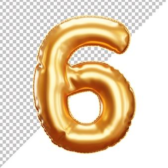 Balão de folha de hélio ouro 3d número 6