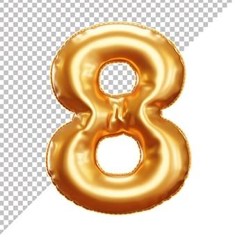 Balão de folha de hélio ouro 3d número 8