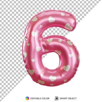 Balão de folha de hélio rosa realista número 6 3d