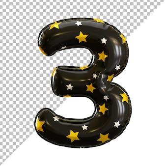 Balão de folha número 3 de três formas com padrão de estrela