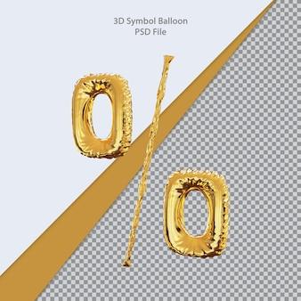 Balão de percentag 3d dourado
