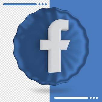 Balão e logotipo do facebook 3d rendering