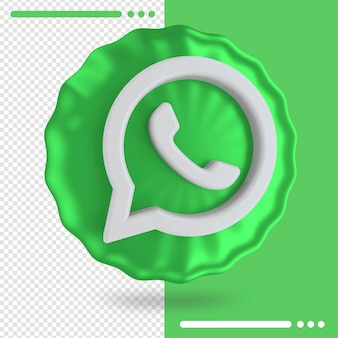 Balão e logotipo do whatsapp 3d rendering