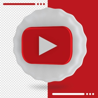 Balão e logotipo do youtube 3d rendering