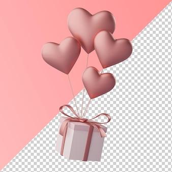 Balão em forma de coração carregando caixa de presente isolada renderização 3d transparente