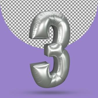 Balão prateado de 3 números realistas