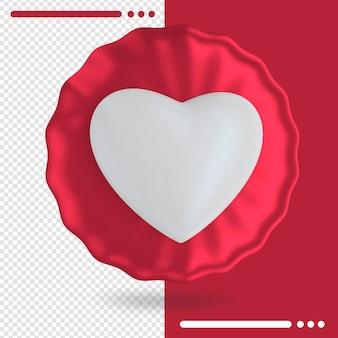 Balão vermelho com formato de coração em renderização 3d