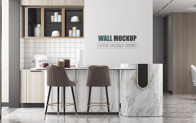 Balcão de cozinha moderno e maquete de parede de ilha