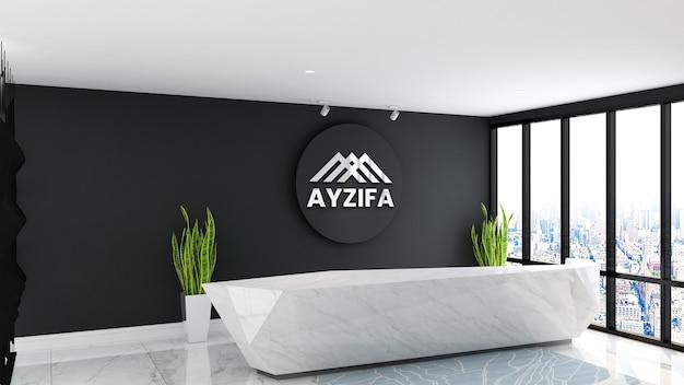 Balcão de recepção futurista com maquete de logotipo em 3d - maquete de parede interior de design monocromático
