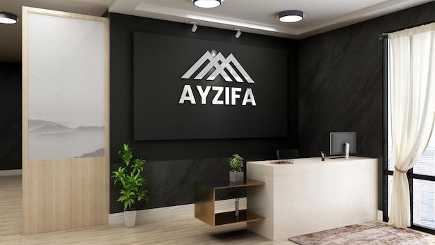 Balcão de recepção moderno e minimalista com logotipo luminoso e realista e maquete de pôster