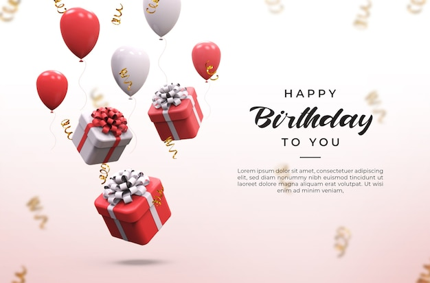 Balões brilhantes rosa e brancos 3d, caixas de presentes e maquete de confete