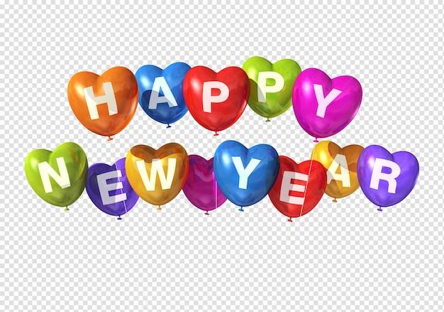 Balões coloridos em forma de coração de feliz ano novo flutuando isolados