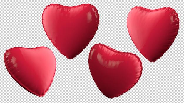 Balões de coração em ângulos diferentes isolados