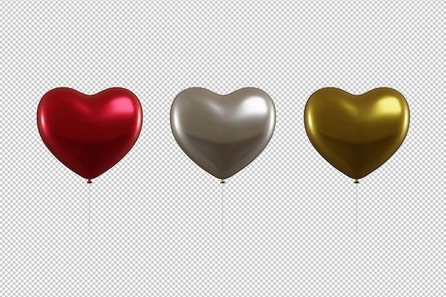 Balões de coração vermelho, prata e ouro isolados