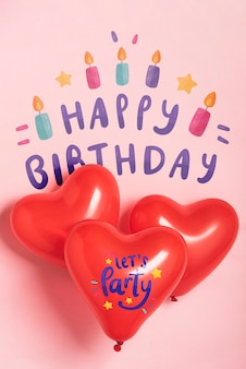 Balões de festa com design de aniversário