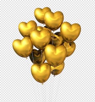 Balões de ouro em forma de coração isolados