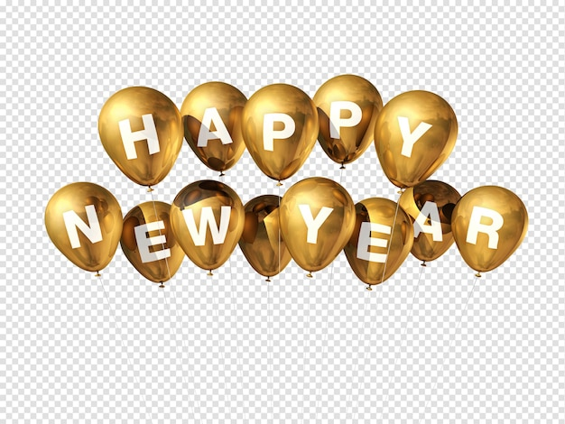 Balões dourados de feliz ano novo isolados