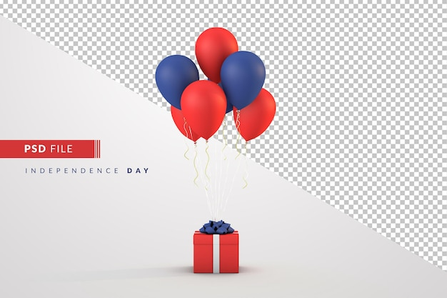 Balões e caixa de presente do dia da independência de 4 de julho
