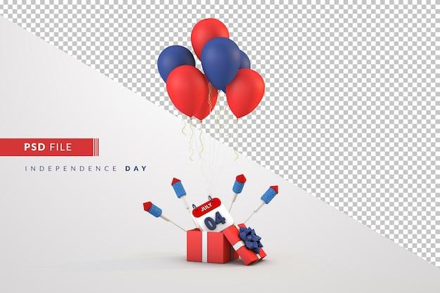 Balões e caixa de presente do dia da independência do calendário de 4 de julho