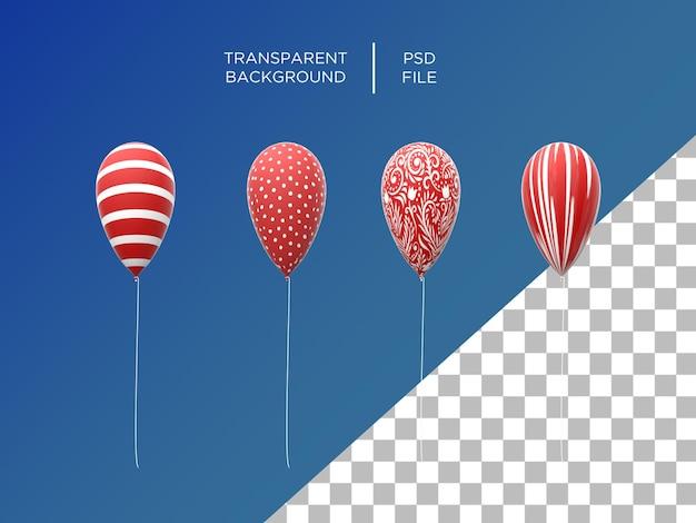 Baloons 3d renderizado com padrão vermelho isolado