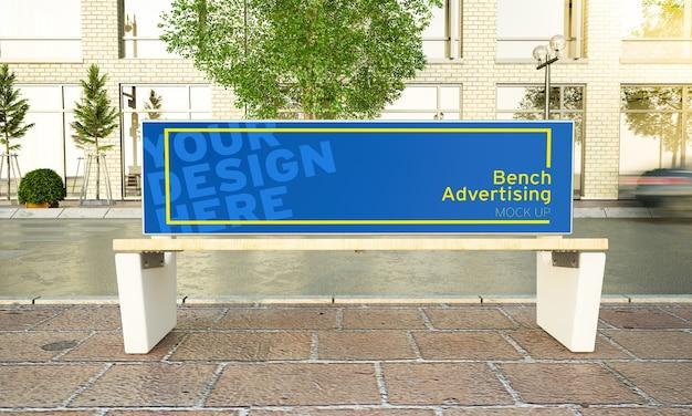Bancada publicitária na maquete de rua