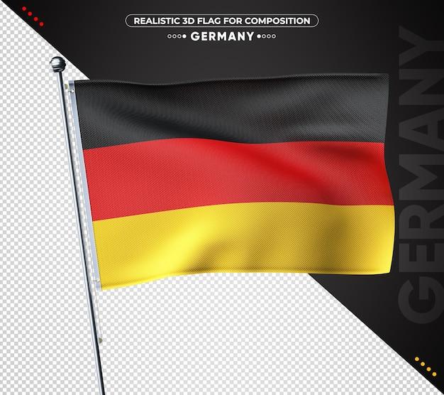 Bandeira 3d da alemanha com textura realista isolada