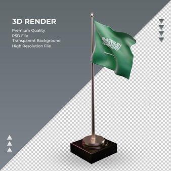 Bandeira 3d da arábia saudita renderizando a vista direita