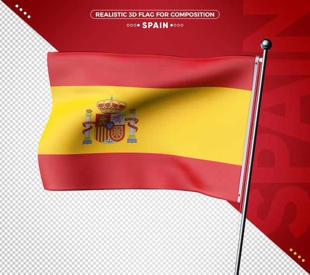 Bandeira 3d da espanha com textura realista
