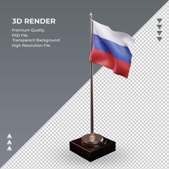 Bandeira 3d da federação russa renderizando a vista direita