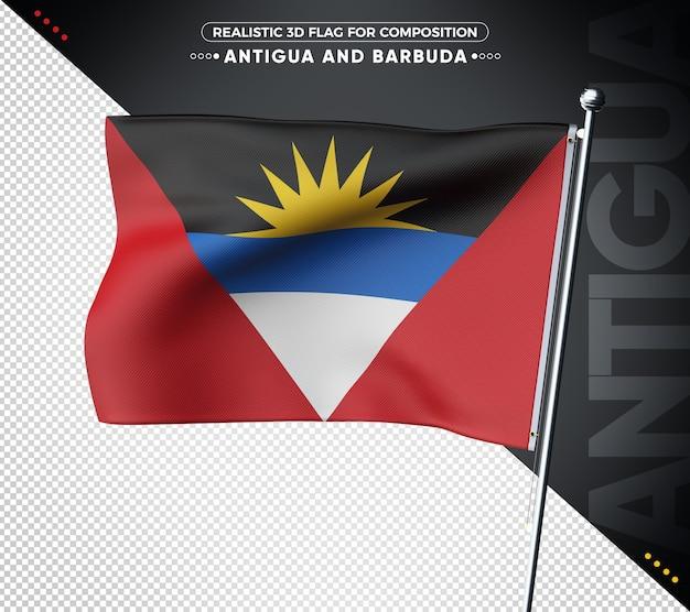 Bandeira 3d de antígua e barbuda com textura realista