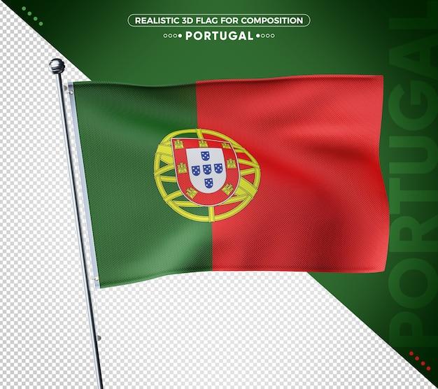 Bandeira 3d de portugal com textura realista