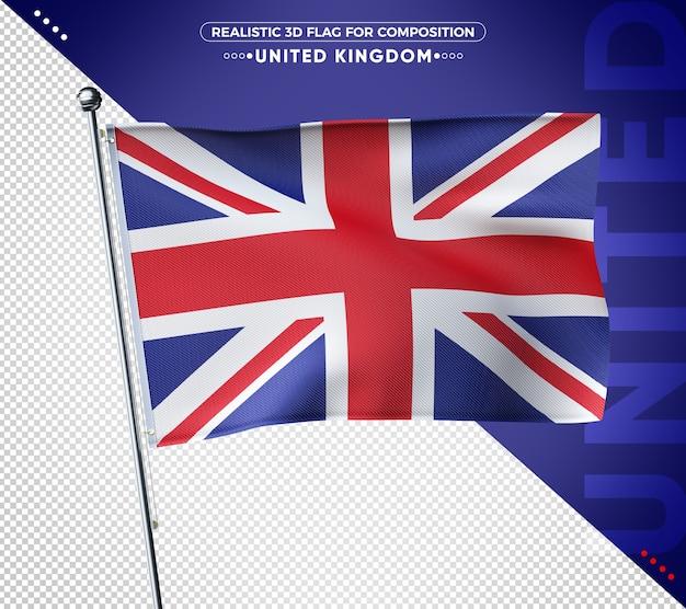 Bandeira 3d do reino unido com textura realista