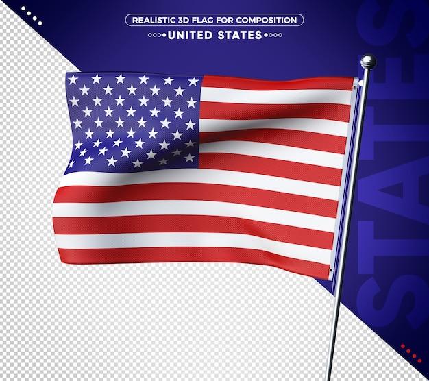 Bandeira 3d dos estados unidos com textura realista
