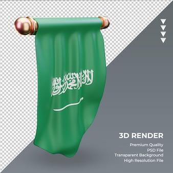 Bandeira 3d flâmula da arábia saudita renderizando vista direita