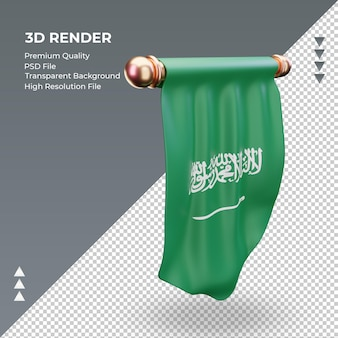 Bandeira 3d flâmula da arábia saudita renderizando vista esquerda