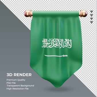 Bandeira 3d flâmula da arábia saudita renderizando vista frontal