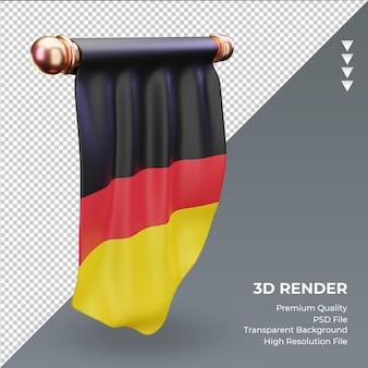 Bandeira 3d pennant germany renderizando vista direita