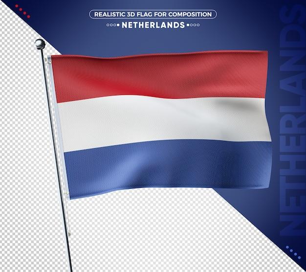 Bandeira 3d texturizada da holanda para composição