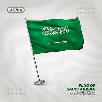 Bandeira 3d texturizada realista da arábia saudita