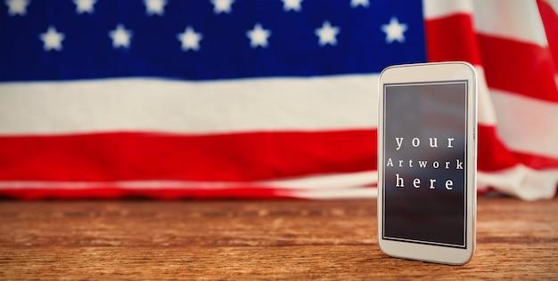 Bandeira americana, e, telefone móvel, mockup