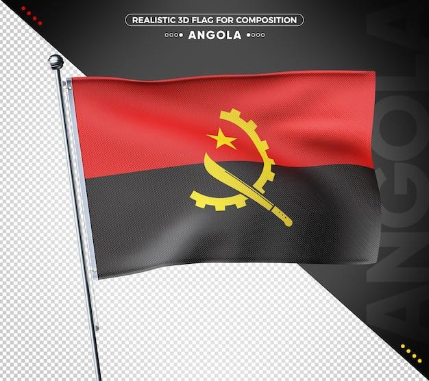 Bandeira angola 3d texturizada para composição