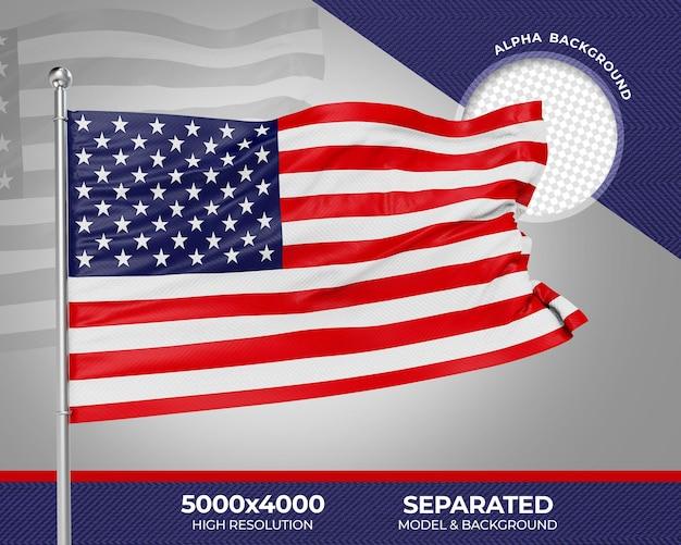 Bandeira com textura 3d realista dos eua para composição