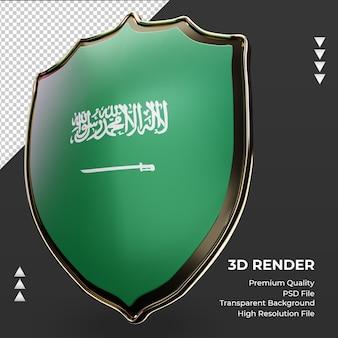 Bandeira da arábia saudita com escudo 3d renderizando vista direita