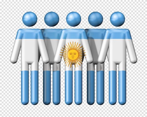 Bandeira da argentina na figura de pau