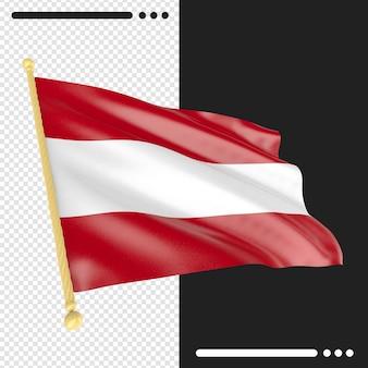 Bandeira da áustria em renderização 3d isolada