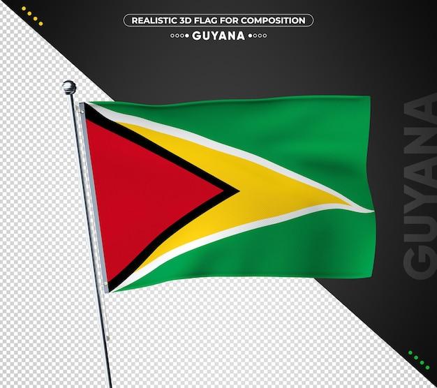Bandeira da guiana com textura realista